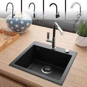 "Rein Schwarz LINDBERGH® Granit Spüle ""COL44"" Einbauspüle Küchenspüle Spülbecken"
