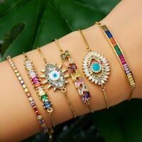 Evil Eye CZ Crystal Rainbow Turkish Gold Bracelet Women Wedding Bangle Jewelry