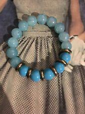 Aquamarine Glass Bead Stretch Bracelet