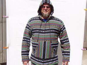 Kapuzenjacke Baja Jerga Fischer Surf Dashiki Hoodie Hippie Mexican Gr.XL Punkte
