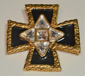 Stamped SWAN Clear SWAROVSKI Crystal Goldtone Black Enamel CROSS Brooch Pendant