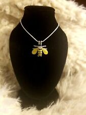 Bumble Bee Necklace Pendant New with Genuine .925 Sterling Silver Chain