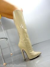 MORI MADE IN ITALY KNEE HIGH LUXURY BOOTS STIEFEL STIVALI LEATHER BEIGE NUDE 38