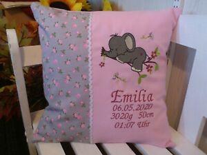 Kissen mit Namen bestickt zur Geburt(kleiner Elefant1 Rosen rosa grau)