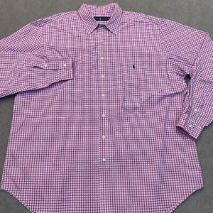 RALPH LAUREN Men's L/S Striped Pink Button Down Shirt Size 2XLT TALL Pony Logo