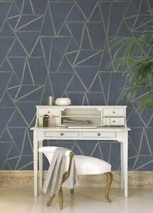 Geometric Prism Metallic Feature Wall Wallpaper Navy Blue Rose Gold Marble Grey
