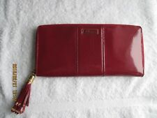 COLE HAAN BURGUNDY Leather Zip Around Women's Handbag/Bag Clutch Wallet PurseNew