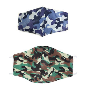FACE MASK COVERING WASHABLE REUSABLE BREATHABLE FASHION WITH FILTER POCKET CAMO