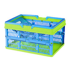 45 Liter Collapsible Storage Bin Container Grated Wall Utility Basket Tote Blue