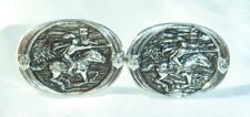 VINTAGE SILVERTONE *GAME OF THRONES* JOUSTING KNIGHT in ARMUR CUFF-LINKS