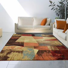 "5x8 (5'3"" x 7'2"") Contemporary Modern Art Red Blue Brown Area Rug"