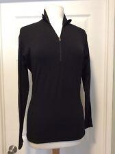 Patagonia Capilene Long Sleeve 1/4 Zip Base Layer Top Womens Black Sz Small GUC