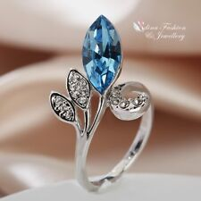 18K White Gold Plated Made With Genuine Swarovski Crystal Fancy Flower Bud Ring