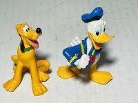 "Walt Disney Mini Figures Lot (2) PVC 2.5"" Donald Duck & Pluto Loose"