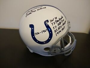 Lenny Moore Autograph Full Size Helmet Auto with Inscriptions Indianapolis Colts