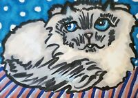 Himalayan Pout Cat ACEO Original Miniature Art Painting by Artist KSams 2.5x3.5