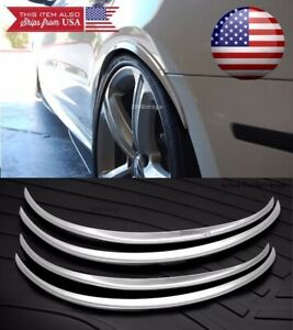 """2 Pairs 1"""" Arch Wide Flexible Extension Fender Flares Silver Lip For VW Porsche"""