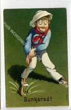 (Gb1048-480) Early Golf Bunkered Comic Humour c1910 VG