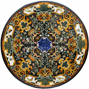 """48"""" x 48"""" Marble coffee center Table Top Pietra dura Inlay handcrafted Work"""