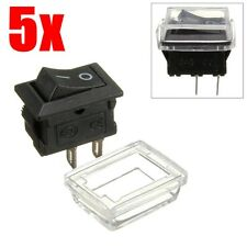 5 x 12V On/Off Waterproof Rectangle Rocker Switch w/ Cover Car Dashboard Boat