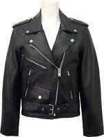 UNICORN Mujeres real cuero chaqueta Estilo clásico Biker Brando Negro #B3