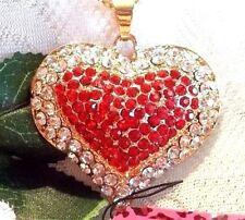 Betsey Johnson Crystal Heart Pendant Long Necklace