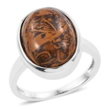 Natural Honey Jasper 9.250Cts Ring In ION Plated Platinum Bond Size Q or T