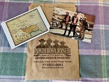 PONDEROSA RANCH Bonanza Ben,Hoss, Little Joe & Burning Map Postcard + Gift Bag