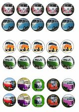 VW CAMPER VANS  EDIBLE RICE WAFER PAPER CUP CAKE TOPPER X30