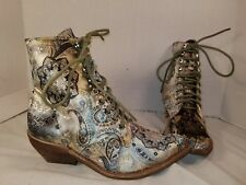 NEW JEFFREY CAMPBELL ELMCROFT GROVE PAISLEY LACE UP BOOTS US 6
