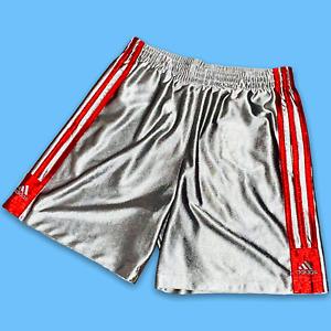 Vintage Rare Adidas Dazzle Basic Basketball Shorts Gray Silver Red YL Men Small