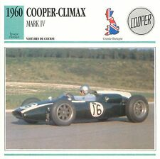 Cooper-Climax Mark IV  4 Cyl. Course 1960 GB/UK CAR VOITURE CARTE CARD FICHE