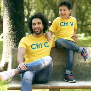 YELLOW CTRL C/CTRL V FATHER-SON T SHIRT MATCHING GIFT SET