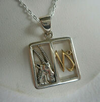 """Peter Stone PSCL Sterling Silver Capricorn Pendant 18"""" Chain Necklace  2119B"""