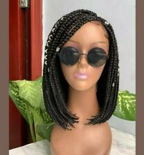 Black Bob box short Braided Wig, with Lace part, available in most colours.