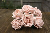 6 x VINTAGE PEACH  COLOURFAST FOAM OPEN COTTAGE ROSES 6cm  BRIDAL WEDDING