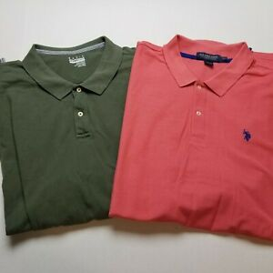 Lot 2 Polo Shirt Mens 3XL Big Tall Short Sleeve Collared Dress Pink Green K81