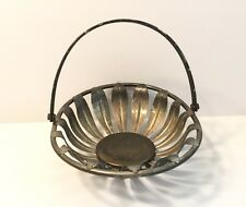 """Silver Plated Bread Basket with Handle, Flower Design - 9"""""""