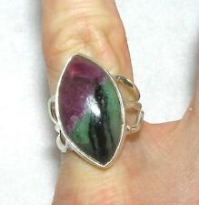 Ruby Zoisite Long Marquise Ring Sterling Silver Size 5.5