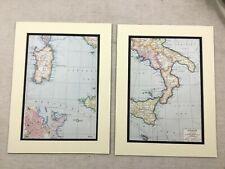 1920 antique prints Map of South ITALIE CORSE SARDAIGNE PALERME City Street Plan