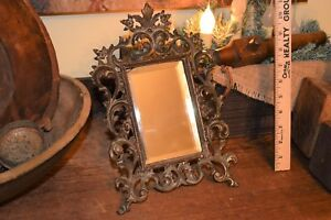 Antique Filigree Ornate Floral Leaf Iron or Cast Iron Vanity Mirror Marked 1900