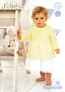 Stylecraft Lullaby Double Knit 9171 Knitting Pattern Baby Long Cardigan & Dress