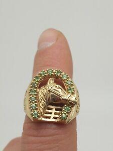 Men's 14K Yellow Gold Peridot Stone Horse Horseshoe Ring, Sz 9.5