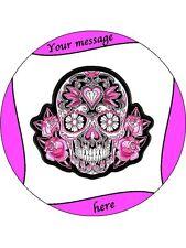 """Personalizado Rosa Y Negro Sugar Skull imagen 7.5 """"Comestibles De Oblea De Papel Cake Topper"""