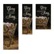 3' x 9' Glory to the Newborn King  Christmas Banner Satin Polyester