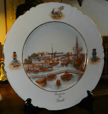 Porcelaine Jean Pouyat Limoges assiette vue du port de Brest