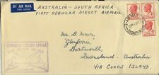 Stamps Australia 4&1/2d red Kgv1 on 1st regular flight cover to South Africa