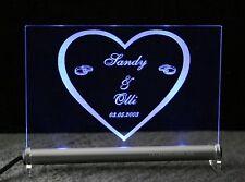 Herz + Namen + Datum Ihrer Wahl LED Leuchtschild Hochzeit Liebe zu Valentinstag