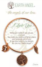 "Earth Angel ""I Love You"" Bracelet Antique Rose Gold Charms Like Alex And Ani"
