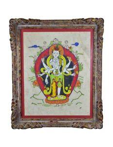 Hindu Indian Folk Art Painting in Beautiful Frame - Bright Colors